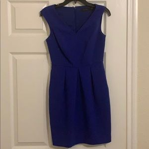 The Limited Blue Pleated V Neck Dress
